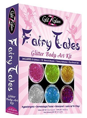 Märchen Glitter-Tattoo-Set mit 6 grossen Glitter und 12 erstaunlichen Schablonen - temporäre...