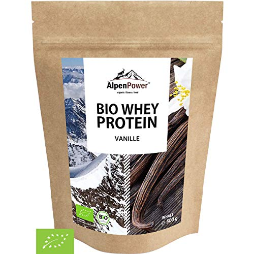 ALPENPOWER | BIO WHEY Protein Vanille | Ohne Zusatzstoffe | 100% natürliche Zutaten | Bio-Milch aus Bayern und Österreich | Superfood Vanille | Hochwertiges Eiweißpulver | 500 g