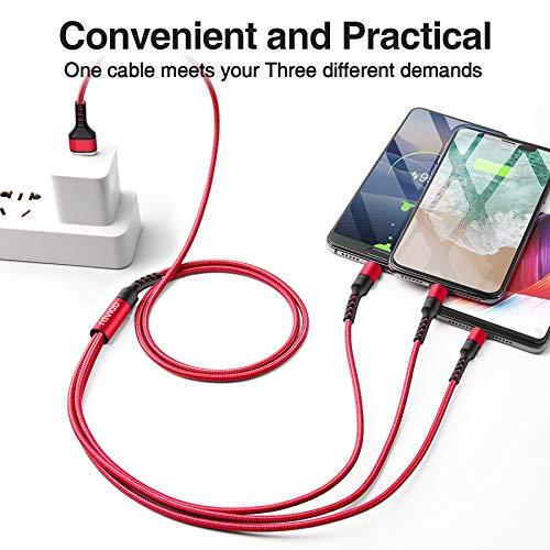 RAVIAD Multi USB Kabel, 3 in 1 Universal ladekabel Nylon Mehrfach Ladekabel Micro USB Typ C für Android Galaxy S10 S9 S8 A5 J5, Huawei P30 P20, Honor, Oneplus, Xiaomi, Sony, LG, Kindle, Echo Dot 1.2M