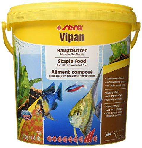 Sera Vipan visvoer met prebiotica verbetert de voederrecycling, zodat minder waterbelasting en minder algen, de klassieker, vlokkenvoeding voor alle siervissen in het aquarium, 10l (2kg)