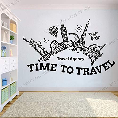 Agenzia di Viaggi Ufficio Vacanze estive Voyage Adesivo murale, Adesivo da Ufficio, Viaggio in Camera da Letto Esplora Lo Sfondo di Avventura di Viaggio 103x63cm