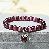 Cute Crystal Color Opal Single Circle Bracelet Bracelet Crystal Jewelry Accessories-Taro Purple Cat's Eye