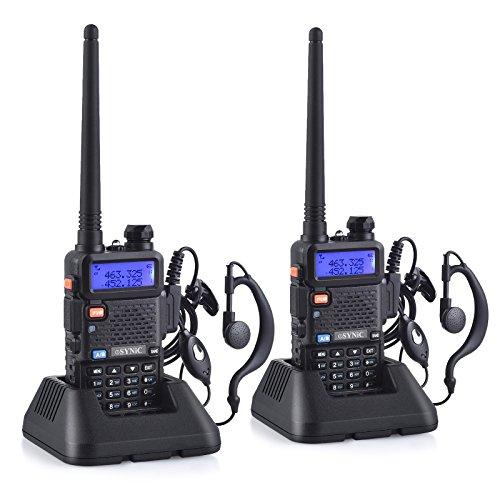 ESYNIC Walkie Talkie 2x UV-5R Banda Dual Baofeng 65 MHz~108MHz VHF / UHF LED FM 128 Memoria Canales de dos vías Radio Auricular Walky-Talky Commercial Receptor de FM Radio Soporta VOX