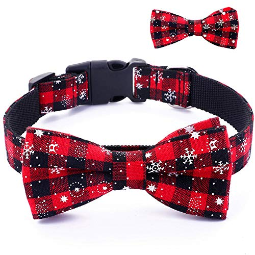 Umisun Pet Basic Collar with Detachable Bow Tie-Christmas Snow Pattern Cotton Collar Charm Necklace Outfits Accessories for Small Medium Dogs/Cats,XS
