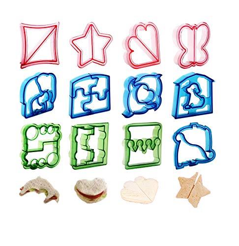 12 piezas Molde Cortador Sándwich,Cortador de galletas Sandwich Cookie Cutter,Sándwich Pan Para Niños Moldes,Cortadores Sándwich Pasteles Galletas Fruta