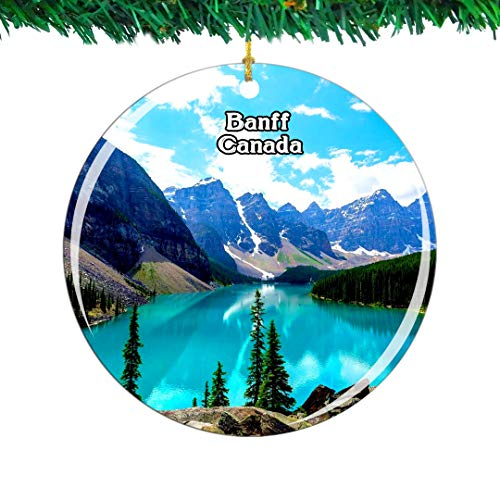 Weekino Canada Lake Minnewanka Banff Christmas Ornament City Travel Souvenir Collection Double Sided Porcelain 2.85 Inch Hanging Tree Decoration