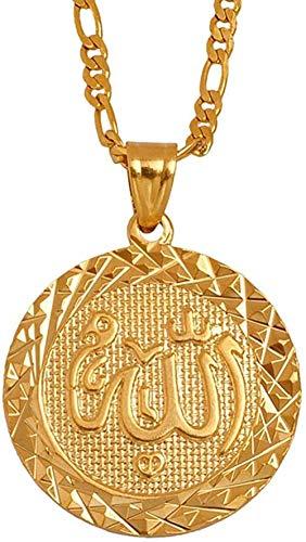ZGYFJCH Co.,ltd Collar de Color Dorado con Colgante de Alá, Collar de Cadena para Hombres, joyería árabe de Oriente Medio, Mujeres, Hombres, artículo musulmán, artículos islámicos