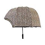 jsjjaey ombrello ombrello a cupola a forma di casco antivento, ombrellone della cupola della coppia, casco vibrante cappello inversione del cappello trasparente ombrello (color : leopard print)