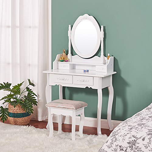 Vanity Table Set,Makeup Table with Oval Mirror & Stool, Bedroom Wood Dressing Table