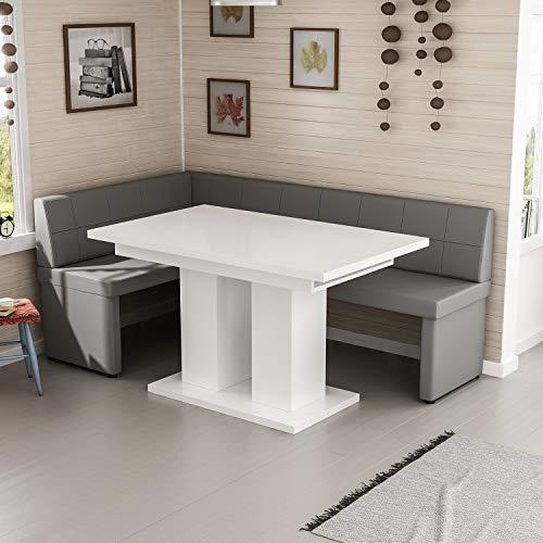 Reboz hoekbankgroep grijs hoekbank en eettafel 128 x 168 cm in vele kleuren 128 x 168 cm links wit hoogglans