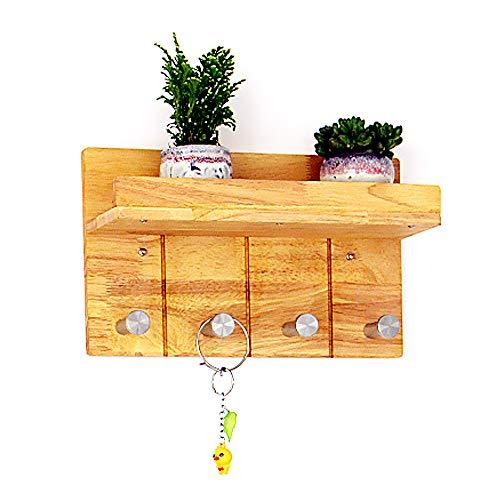 YANGMAN kapstok muur rack eiken open haak frame opslag plank roestvrij staal haken voor badkamer hal woonkamer keuken, hout kleur