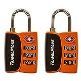 2 Pack Open Alert Indicator TSA Approved 3 Digit Luggage Locks for Travel Suitcase & Baggage (Orange) …