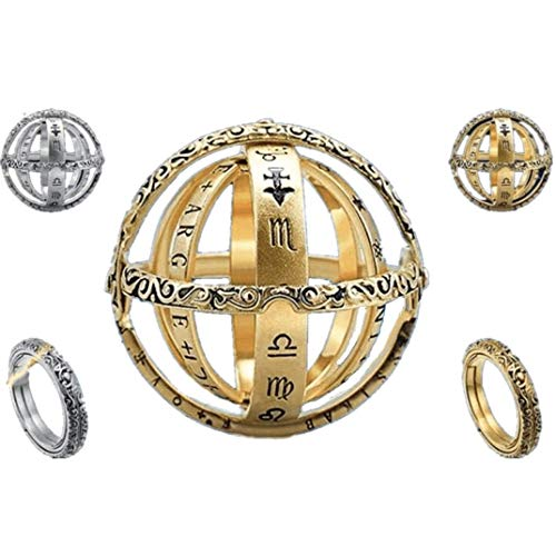 2PCs Astronomical Ring, Openable Spherical Rings Moved Like Regular Armillary Spheres, Astronomical Sundial Globe Ring, Vintage Jewelry for Engagement Statement Wedding Valentine (Silver + Gold, 12)