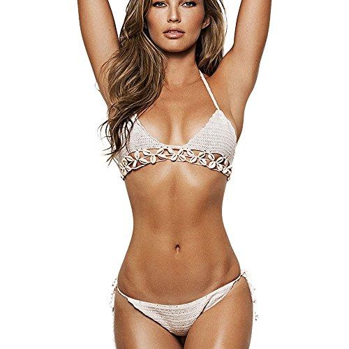 Eastlion Damen Sexy Hand Crochet Bikini mit Muscheln verziert Weiß