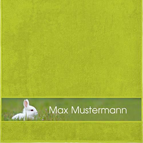 Duschtuch mit Namen - personalisiert - Motiv Tiere - Kaninchen - viele Farben & Motive - Dusch-Handtuch - hellgrün - Größe 70x140 cm - persönliches Geschenk mit Wunsch-Motiv und Wunsch-Name