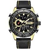 W.zz Reloj Impermeable De Los Deportes Al Aire Libre De La Correa De Cuero Multifunción Reloj Electrónico del Reloj De Los Hombres,A