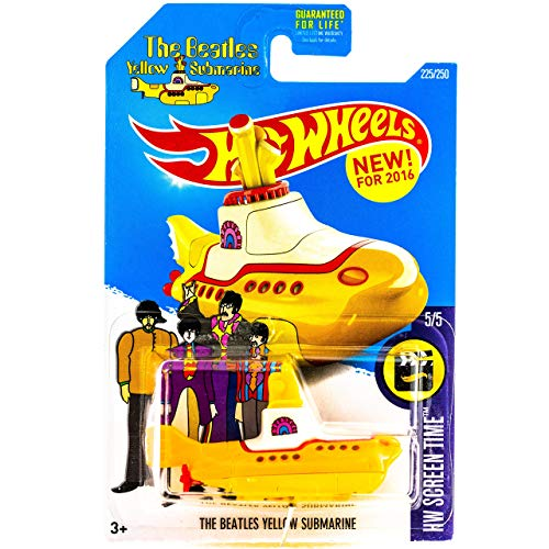 The Beatles Yellow Submarine Hot Wheels 2016 HW Screen Time Series #5/5 1:64 Scale Collectible Die Cast Metal Toy Car Model #225/250 on International Card