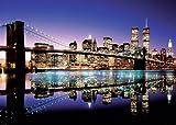 Póster de tamaño gigante New York Skyline Brooklyn Bridge por la noche (140cm x 100cm)