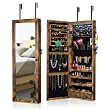 Jewelry Cabinet Organizer Wall/Door MountedJewelry Armoire Full Length Mirror Lockable Jewelry Holder Storage with 8 LEDs And 2scarf Hooks, 180° Door Opening Rustic Wood