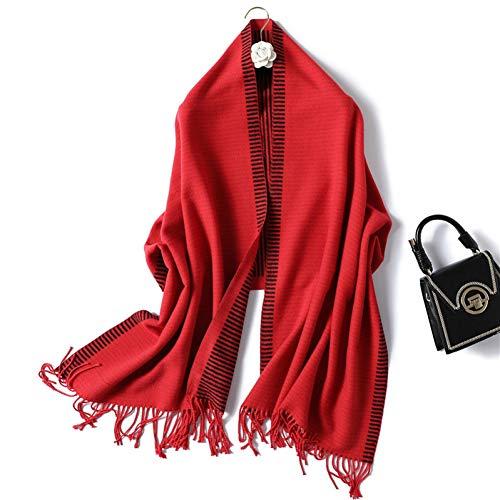 YuFSHU sjaal voor de winter, voor vrouwen, modieus, kasjmiersjaal gestreept en Wrap Lady Pashmina Bandana dikke hals sjaals Wj82-red