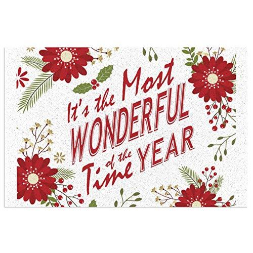 Alfombra de bienvenida moderna y rústica con flores de Navidad para puerta delantera, interior y exterior, de goma, antideslizante, resistente al agua, duradera, 39,7 x 59,9 cm