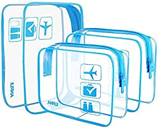 Clear Toiletry Bag TSA Approved Travel Carry On Airport Airline Compliant Bag Quart Sized 3-1-1 Kit Travel Luggage Pouch 3 Pack