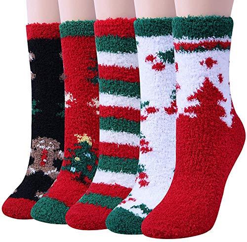 Chalier 5 Paar Weihnachtssocken Kuschelsocken Flauschige Damen Socken Geschenk für Frauen Weihnachtsgeschenke MEHRWEG