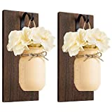 Mkono Mason Jar Sconces Wall Decor Rustic Wall Sconces Set of 2 Wood Boards with Mason Jar Flowers Wall Art Home Fall Decor for Bathroom Kitchen Living Room Bar, Cream Yellow