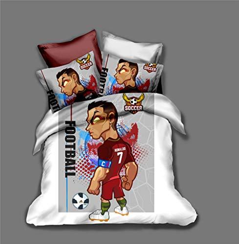 Duvet Cover Single Bed 135x200 cm Bedding set 3 Piece with 2 Pillowcases 50x75 cm Ronaldo 3D Printing Design Soft Microfiber Quilt Cover Set with Zipper