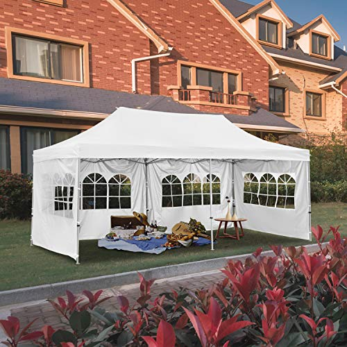 Outdoor Pop Up Canopy Tent 10'x20' with 4 Sidewalls- White Folding Commercial Gazebo Party Tent with Wheeled Carry Bag