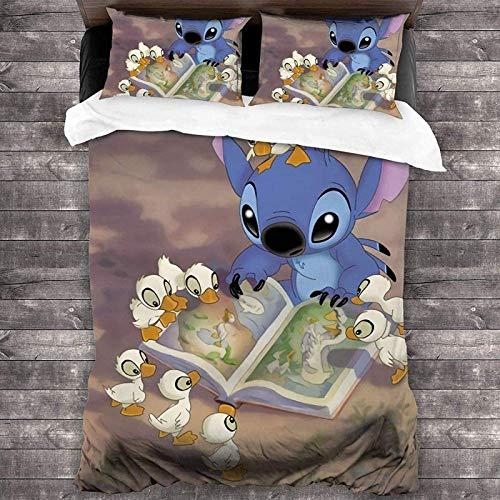 QWAS Stitch - Juego de ropa de cama para niños, tejido de microfibra 100% suave y cómodo, 100% (a1,200 x 200 cm + 80 x 80 cm x 2)
