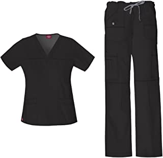 Women's Gen Flex Junior Fit 'Youtility' Top 817455 & Low Rise Drawstring Cargo Pant 857455 Scrub Set (Black - Medium)
