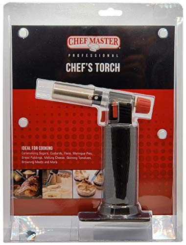 Chef Master 90268 Chef's Cooking Torch | Kitchen Blow Torch | Adjustable Flame | Self-Igniting Piezo Trigger Ignition | Easy and Safe Operation | Quick Refill | Ergonomic Design