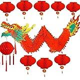 Farolillos chinos de papel, juego de farolillos chinos 2020 y colgante de dragón para fiesta de primavera china, año nuevo, decoración de boda