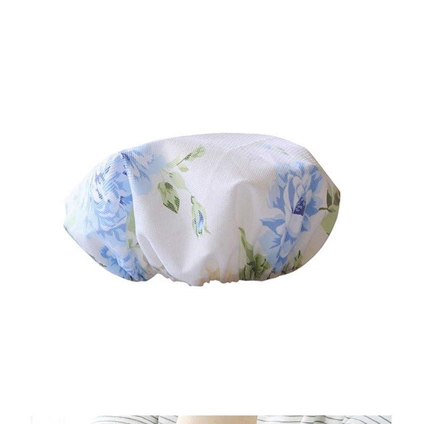 迷惑満州近くYUXUANCIXIU シャワーキャップ、レディースシャワーキャップレディース用のすべての髪の長さと太さのデラックスシャワーキャップ - 防水とカビ防止、再利用可能なシャワーキャップ。 家庭用品 (Color : Blue)