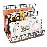 Funly mee Office Desktop 3 Slot File Letter Magazine Folder Document Tray - Desktop Mail Sorter Organizer Rack - Rustic Industrial Style