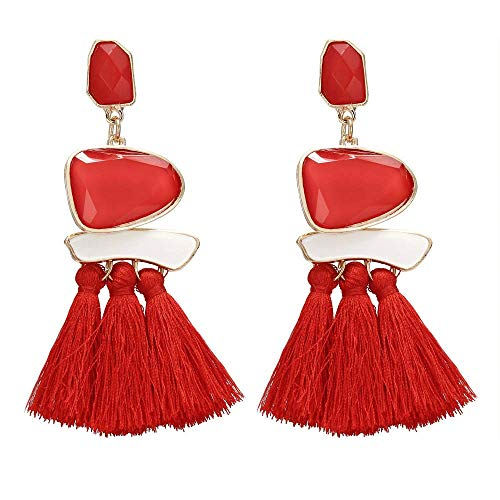 Onefeart Base Metal Pendientes de Gota Para Mujeres Chicas Señoras Estilo Borla Diseño 108MM Rojo