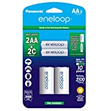Panasonic K-KJS2MCA2BA eneloop C Size Battery Adapters with eneloop AA 2100 Cycle Ni-MH Pre-Charged Rechargeable Batteries, 2 Pack with 2 'C' Adapters