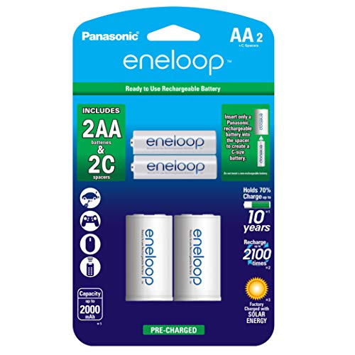"Panasonic K-KJS2MCA2BA eneloop C Size Battery Adapters with eneloop AA 2100 Cycle Ni-MH Pre-Charged Rechargeable Batteries, 2 Pack with 2 ""C"" Adapters"