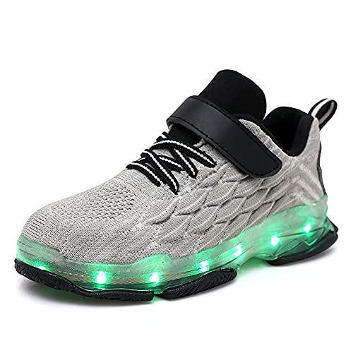 Vansney Zapatillas Deportivas LED niño niña Luces LED de Movimiento de Flash Variable de 7 Colores se Pueden Cargar a través de un Cable USB Llamas y Alas diseño