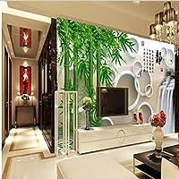 Ljjlm カスタム大規模壁画リビングルーム3Dサークル緑竹背景壁不織布壁紙パペルデパレード-200X150Cm