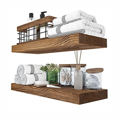 Baobab Workshop Floating Wood Shelves Set of 2 - Rustic Shelf 16 inch - Handcrafted in Europe - Wide Wooden Wall Shelves for Living Room Bedroom Kitchen Bathroom Farmhouse - Walnut Color - 16' x 6.7'