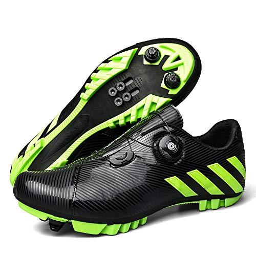 JINFAN Zapatillas De Ciclismo SPD MTB para Hombres Y Mujeres Ideales para Bicicletas De Montaña Ciclo De Fondo XC Incluidas,Black-45EU=(280mm)