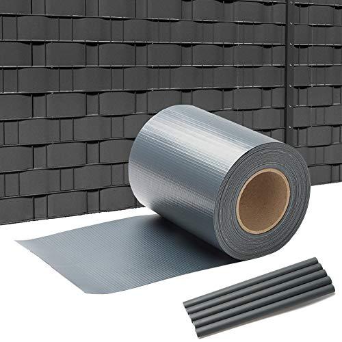 VINGO PVC Sichtschutzstreifen 35m x 19cm, Sichtschutz für Doppelstabmatten Zaun, inkl.30 Befestigungsclips, PVC Sichtschutzfolie für Gartenzaun Balkon, Anthrazit