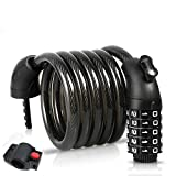 BIGLUFU Bike Lock Cable Scooter Bicycle Motorcycle Chain Locks, 5-Digit Combiantions, 4FT / 120cm...