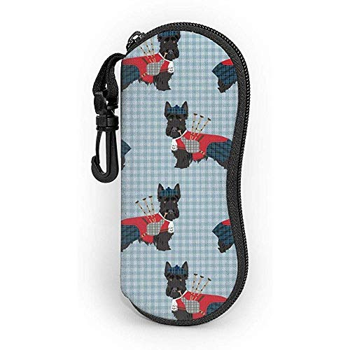 Glasses Case Scottie Dog With Bagpipes Cute With Carabiner Ultra Light Portable Zipper Sunglasses Soft Case