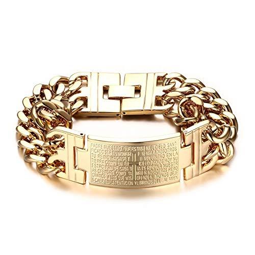 GLJIJID Titan Stahl gebogen Vers Kreuz Armband, Titan Stahl Herren Armband, 21 * 1,8 cm Gold