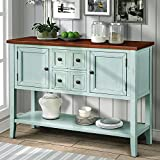 P PURLOVE Console Table Buffet Sideboard Sofa Table with Storage Drawers Cabinets and Bottom Shelf (Antique Blue)