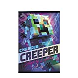 Erik - Pack Póster Minecraft Charged Creeper con Colgador de Madera magnético Negro, Vertical (61x91,5 cm)