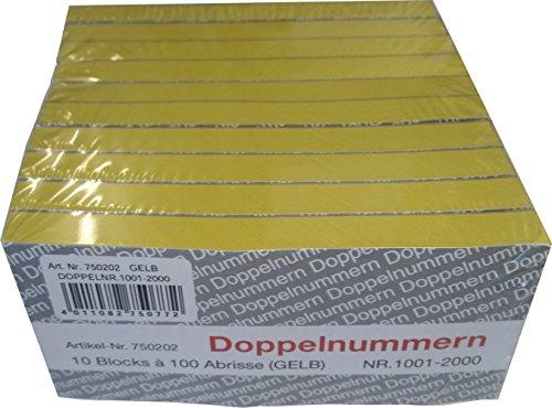 PARTY DISCOUNT Doppelnummern-Block 1000 Abrisse Nr 1001-2000 gelb
